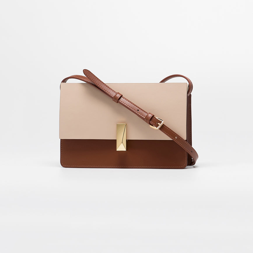 Structured Dual-Tone Crossbody Box Bag - Cream & Brown