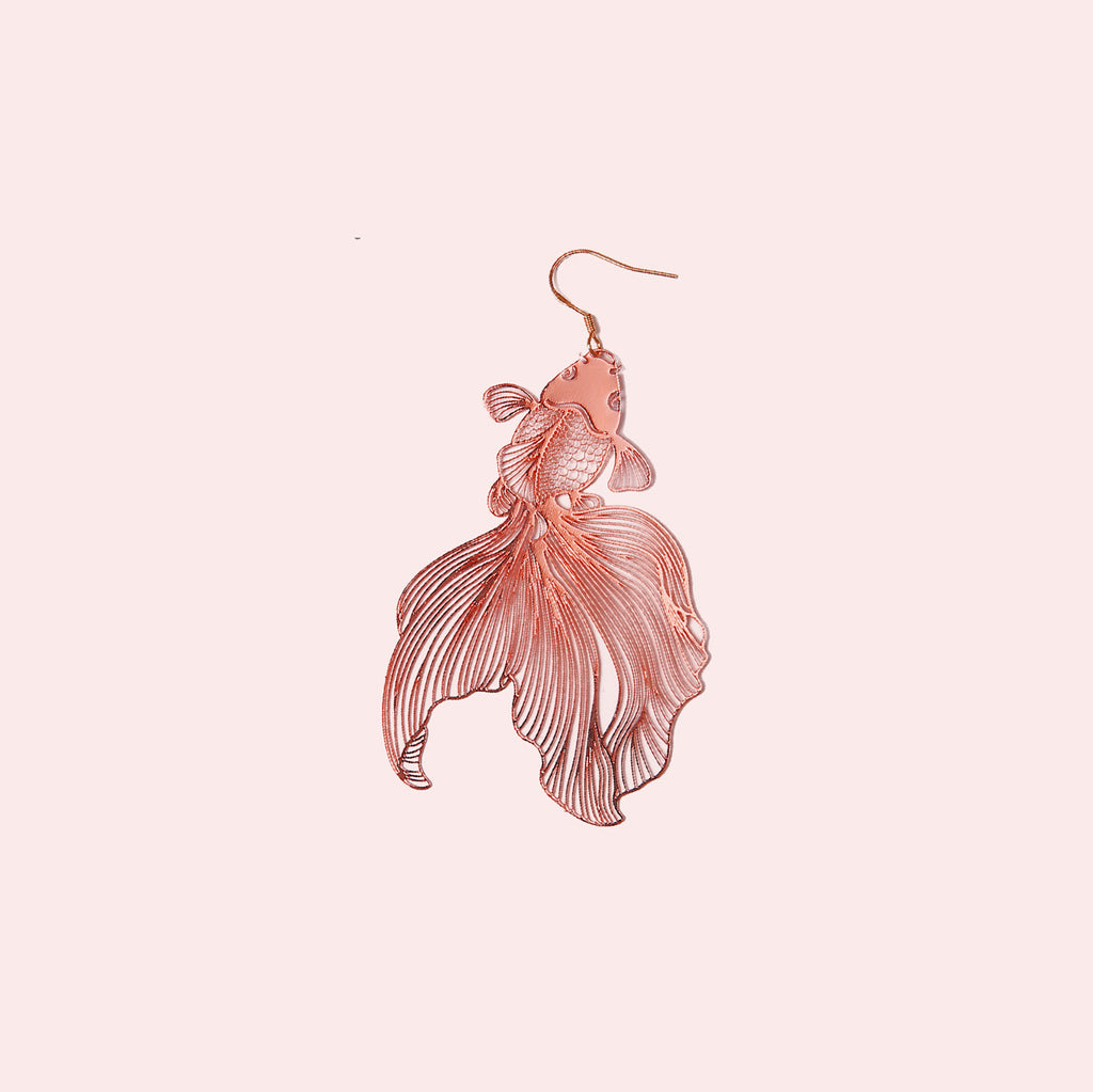 Lively Rose Gold Wandering Goldfish Drop Earrings - AHED Project