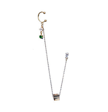 14K Gold Filled Gem Charm Chain Cuff Earring