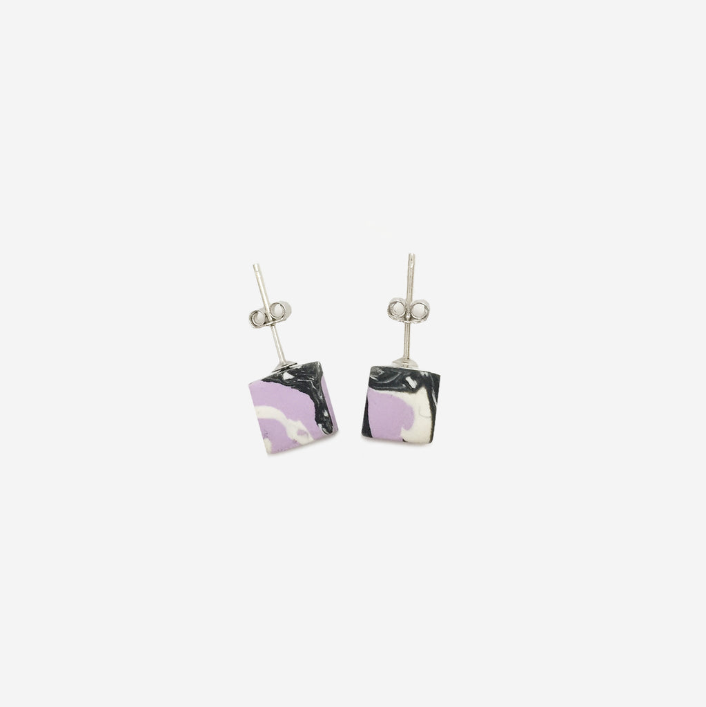 Clay Cube Studs Earrings - Lavender Marble Blend - AHED Project