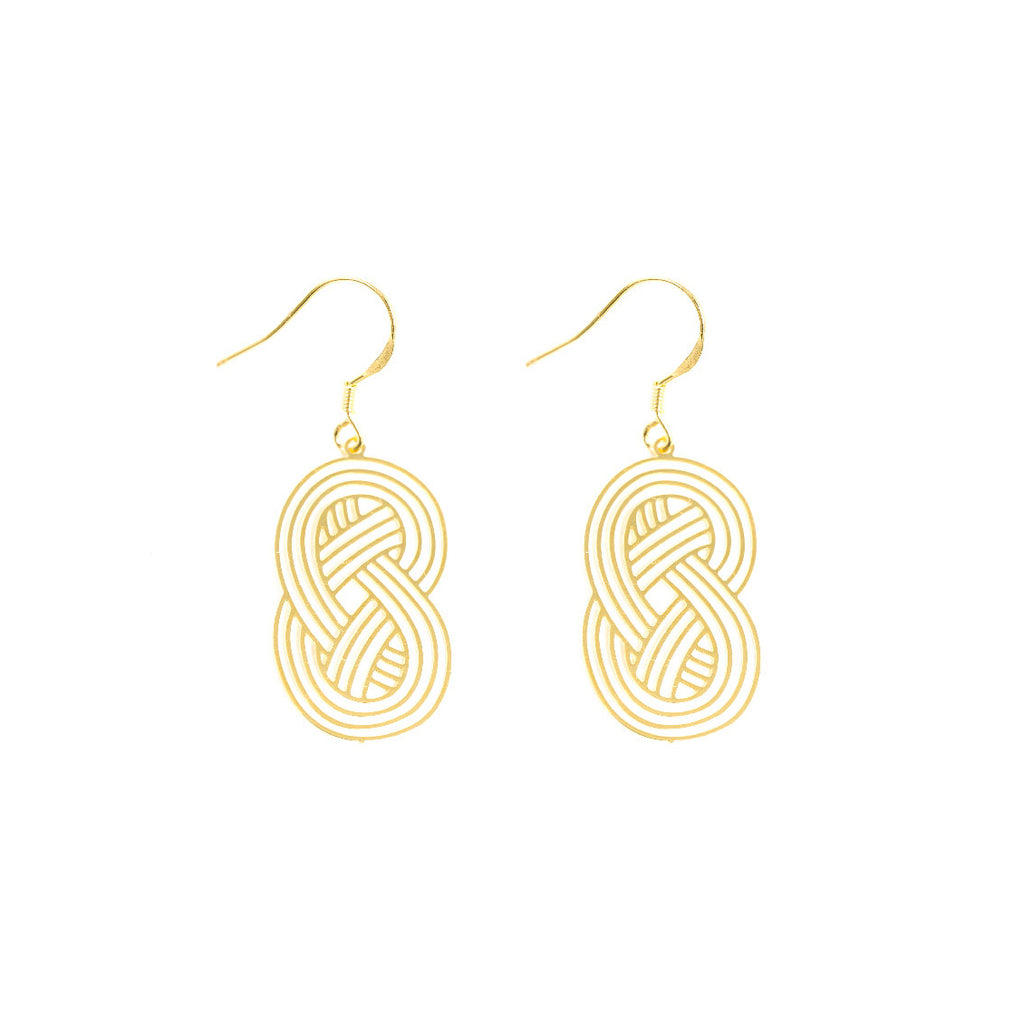 18K Gold Plated Interweave Cutout Drop Earrings - AHED Project