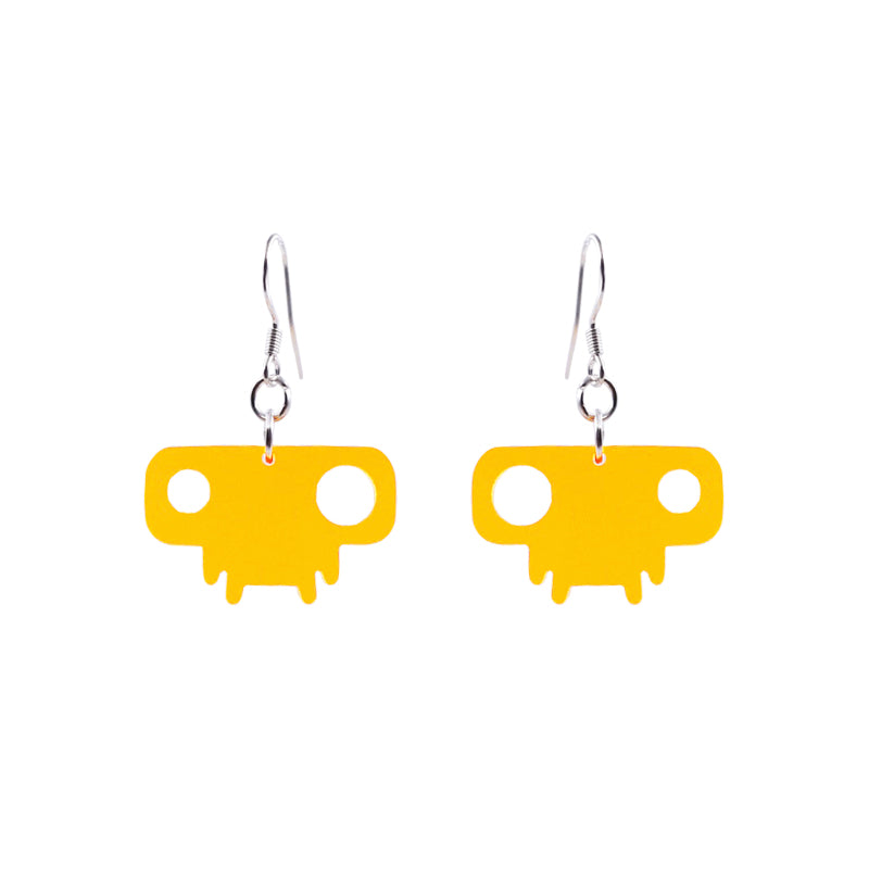 Alien Series - Acrylic Yellow Aliens Drop Earrings - AHED Project