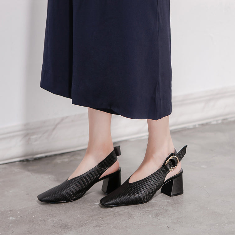 Hollow Leather Slingback Block Heel Mules- 3 Shades - AHED Project