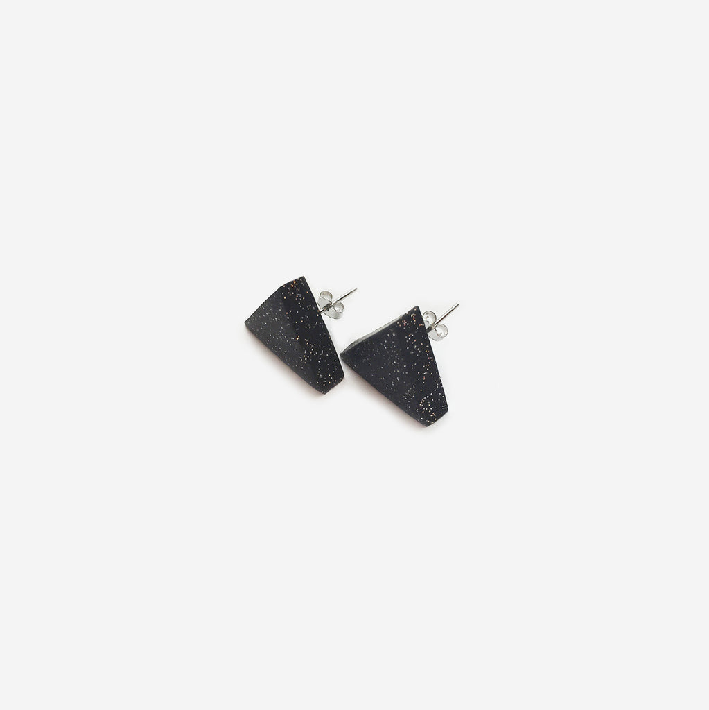 Triangle Clay Stud Earrings - Black & Gold (Quick to ship)