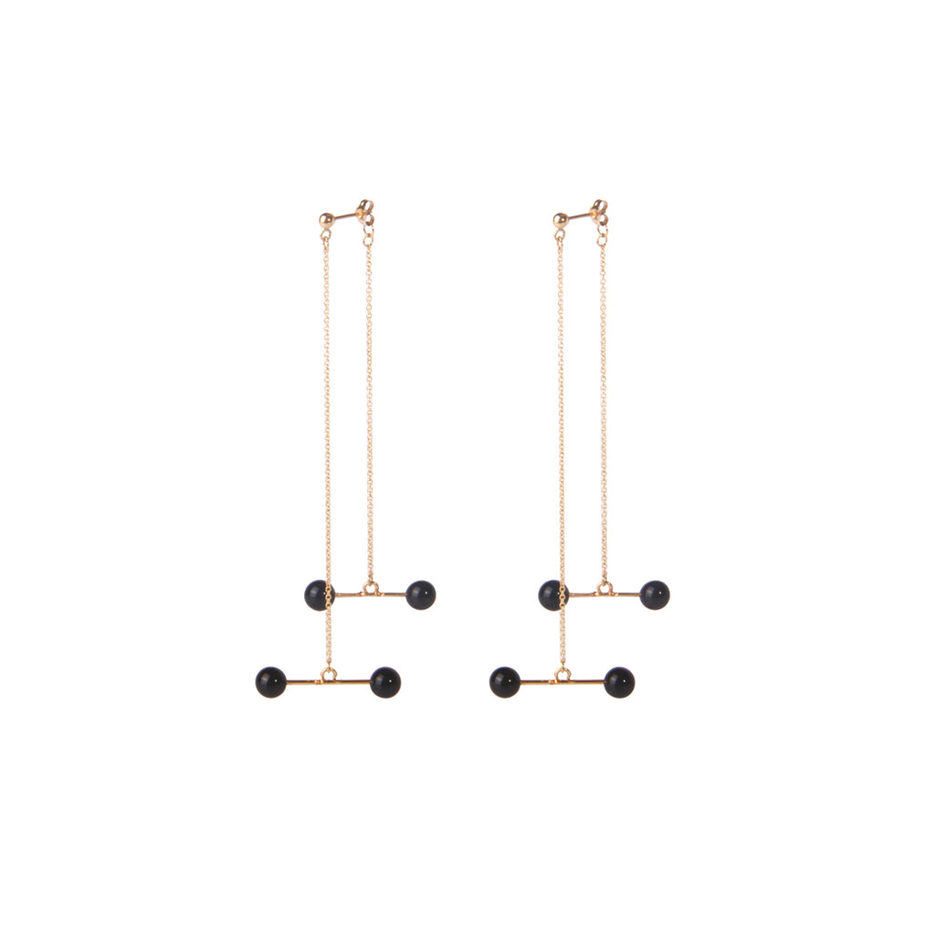 Black Agate Balance Beam 14K Gold Filled Threader Drop Earrings - AHED Project