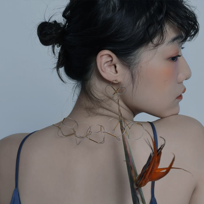 Organic Curved Line-Drawing Necklace (Quick to ship) - AHED Project
