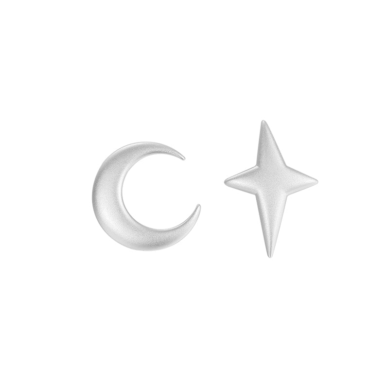 Asymmetrical Star Moon Stud Earrings - AHED Project