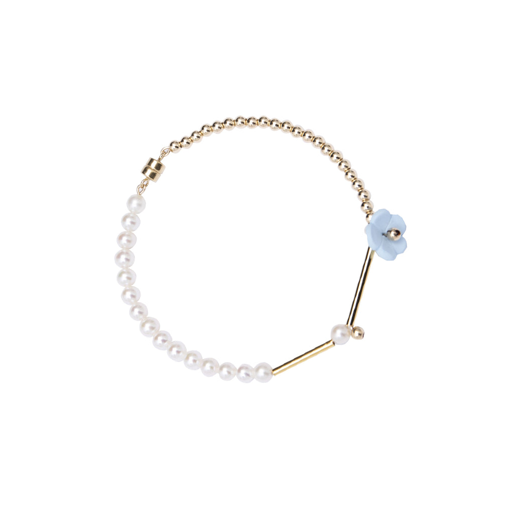 Little Flowers Series - Pearl Beads Magnetic Clasp Bracelet