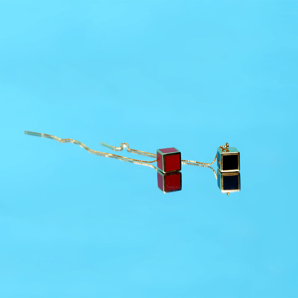 Black & Red Cube Drop Threader Earrings - AHED Project