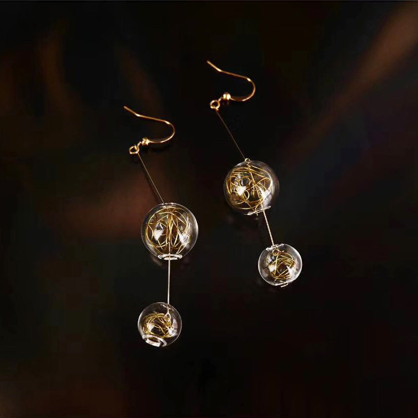 Gold Wire Dual Bubble Drop Earrings (Quick to ship)