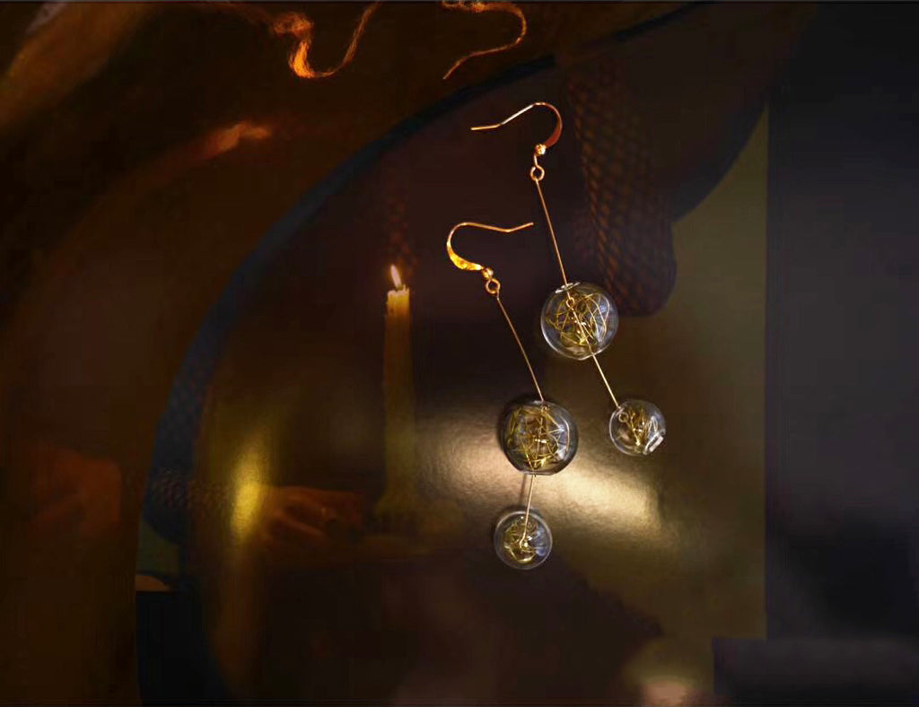 Gold Wire Dual Bubble Drop Earrings (Quick to ship) - AHED Project