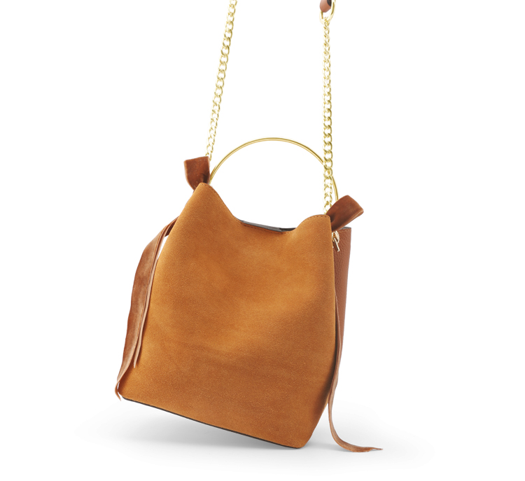 Dual-Texture Ring Top Handle Leather Bucket Bag