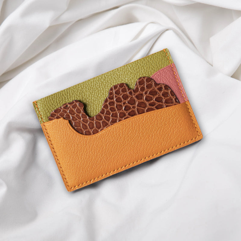 Camel Card Holder- Chèvre Mysore & Exotic Leather