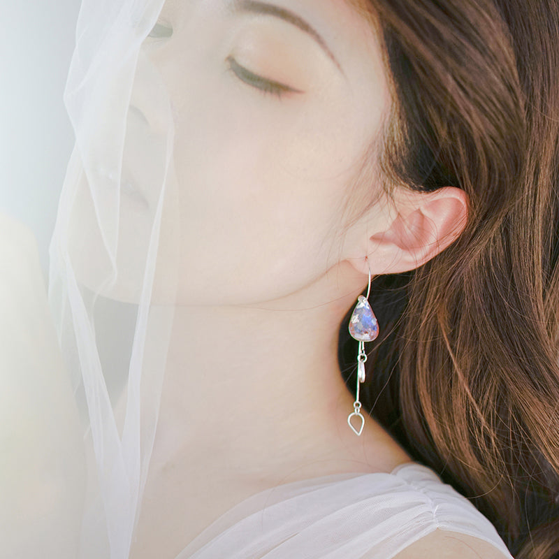Coral Sea Series Hand-Painted Teardrop Earrings