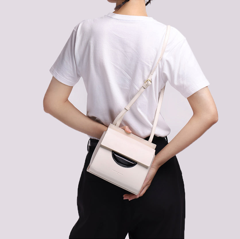 Spacious Leather Crossbody Package Bag - White - AHED Project
