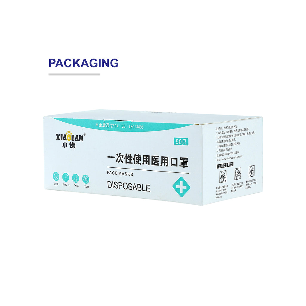 50 PCS FDA & CE Certified Disposable Medical-Grade Face Mask