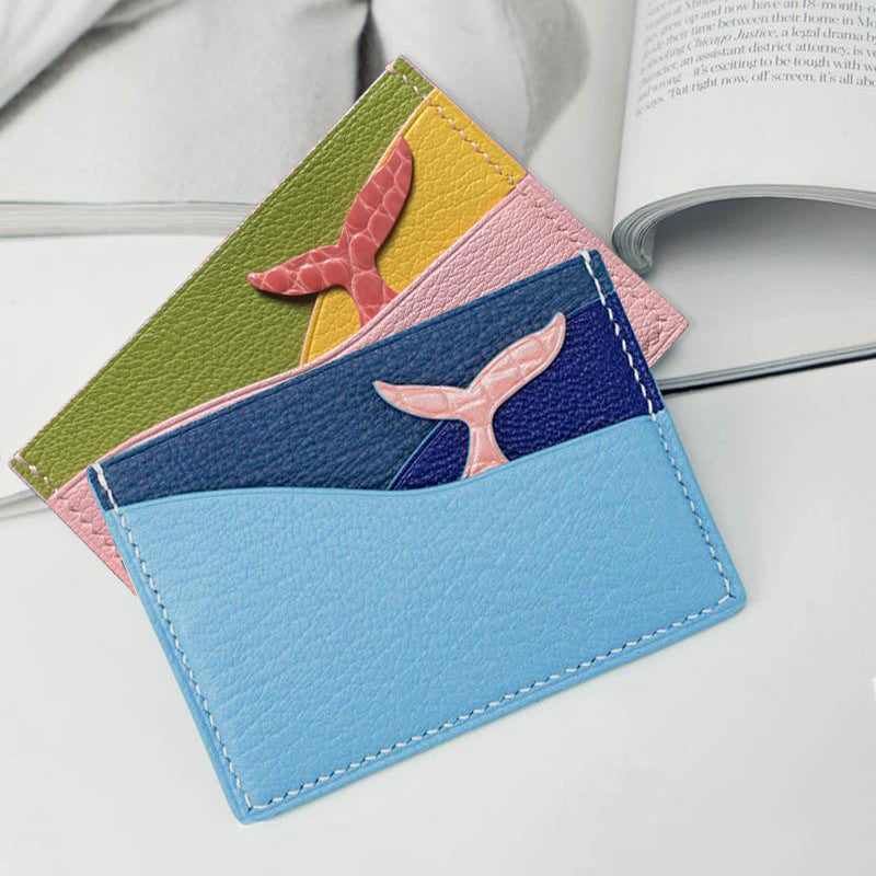 Whale Tail Card Holder -  Chèvre Mysore & Exotic Leather