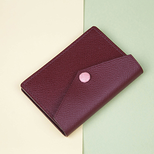 Timeless Handmade Card Holder - Luxurious Epsom Leather In Wine Red (Quick to ship)