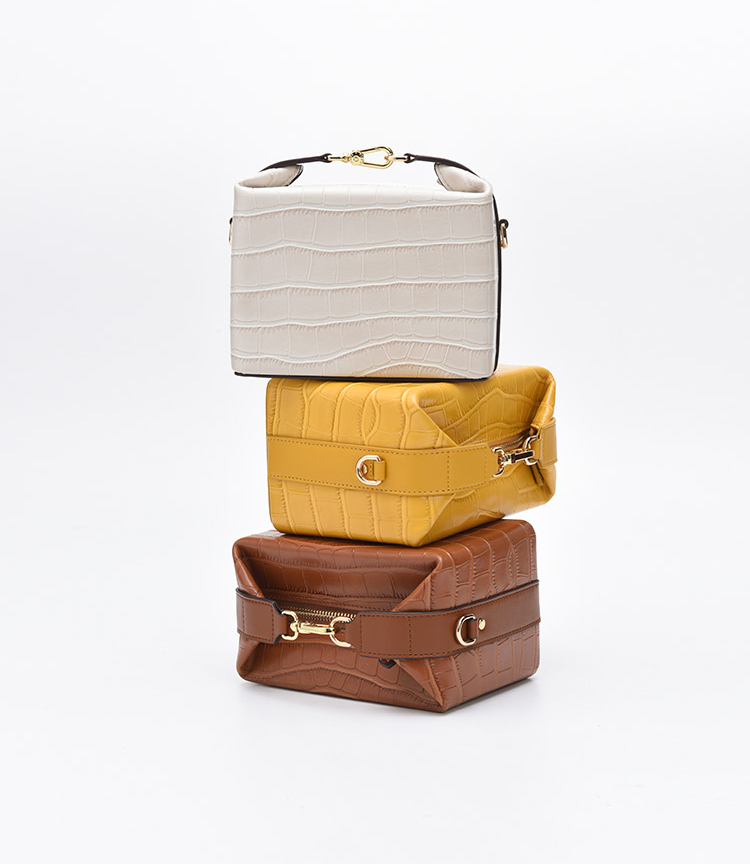 Double Strap Leather Lunch Box Bag - 3 Colors