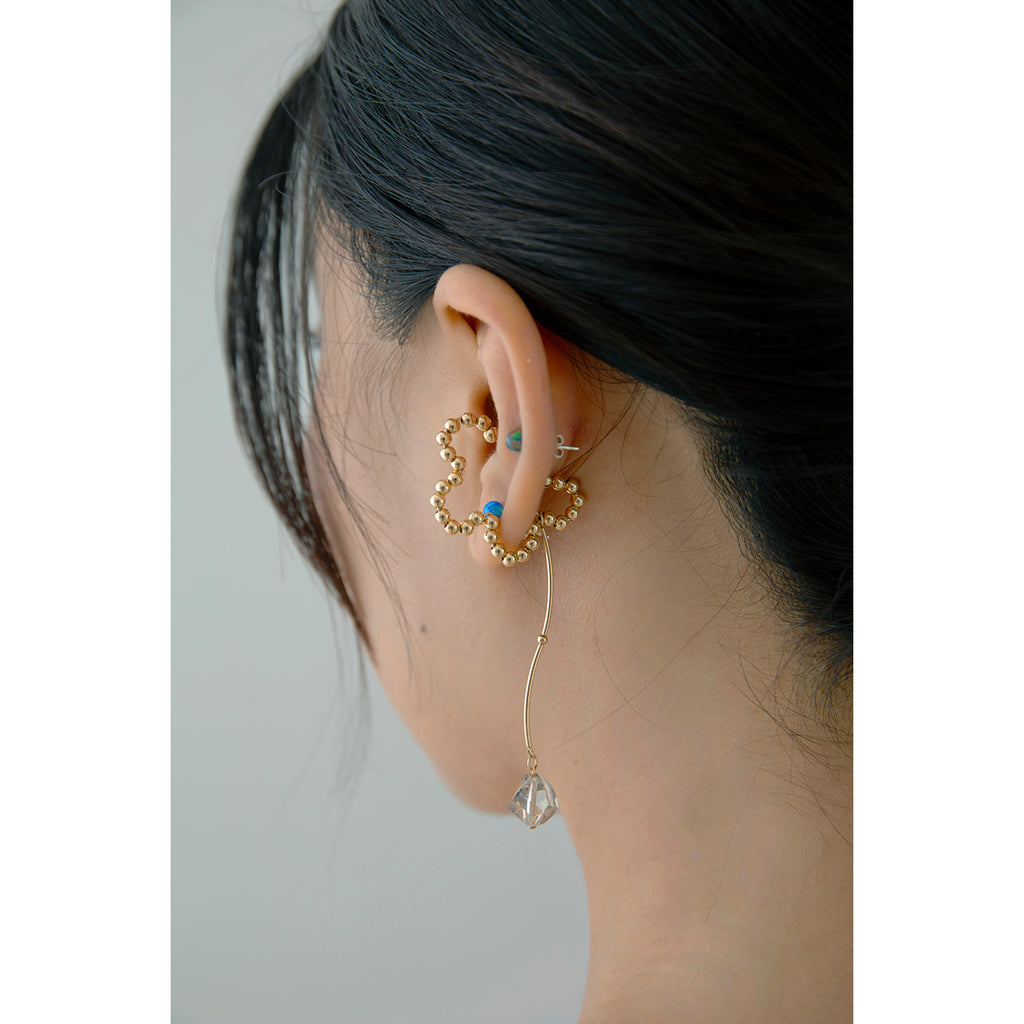 Wire Flower Crystal Drop Ear Cuff