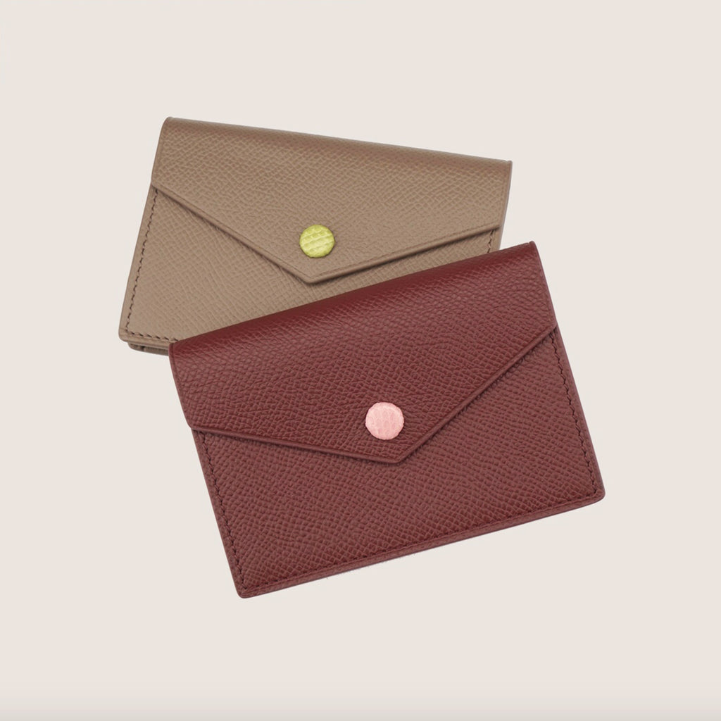Timeless Handmade Card Holder - Luxurious Epsom Leather In Wine Red - 2 to 5 Days Delivery