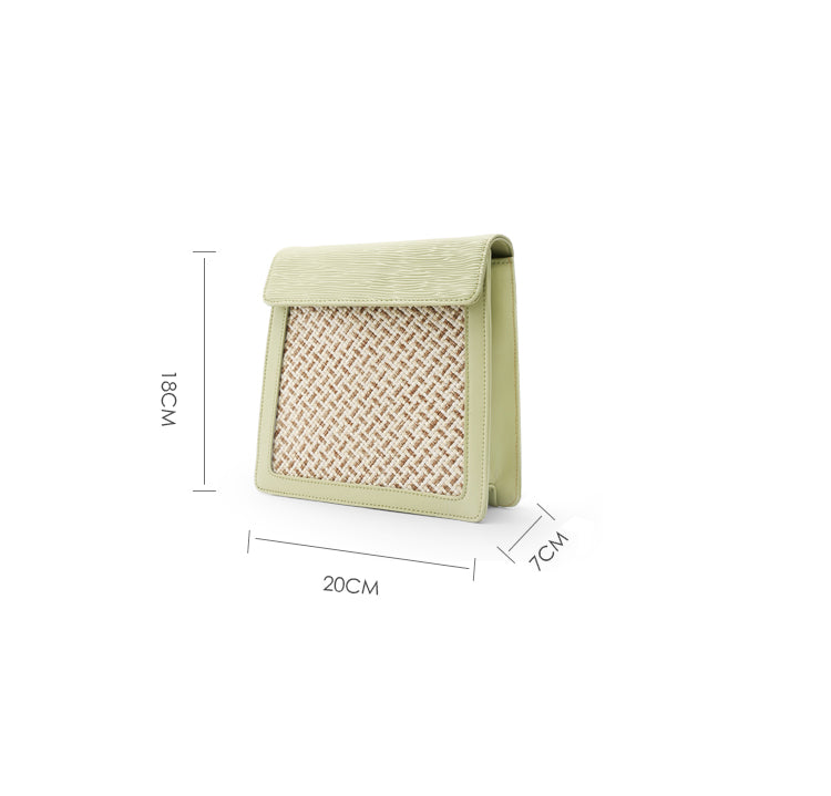 Matcha Green Woven Leather Crossbody Bag - AHED Project