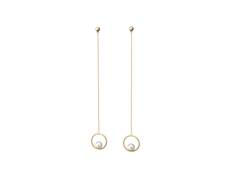 14K Gold Filled Long Threader Pearl Drop Earrings