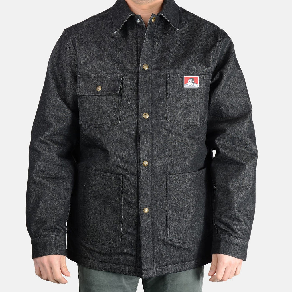 BEN DAVIS ORIGINAL SNAP FRONT CHORE COAT BLACK DENIM & BROWN CANVAS - THE M.F OLDSCHOOL STORE