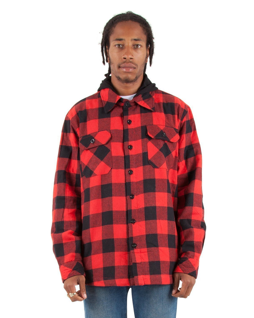 OLDSCHOOLSTORE   SHAKA WEAR  QUILT LINED FLANNEL JACKET (HOODED) - THE M.F OLDSCHOOL STORE