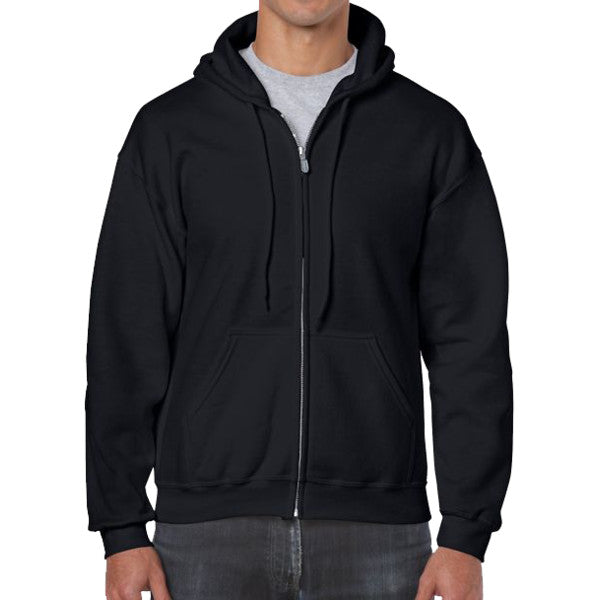 Gildan  Zip Front Blank/Plain Hooded Sweatshirt , Sizes S,M,L,XL,2XL,3XL,4XL,5XL - THE M.F OLDSCHOOL STORE