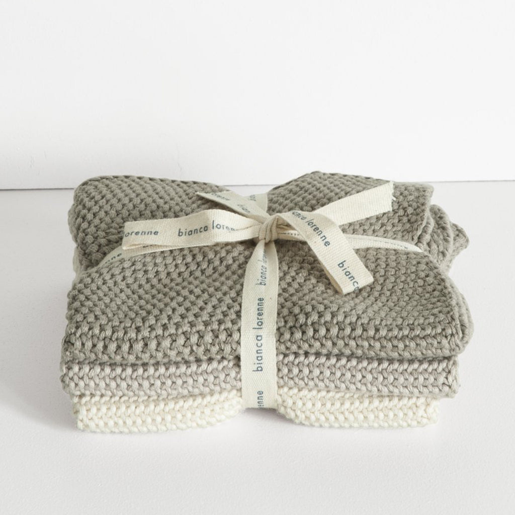 Lavette Knitted Washcloths / Taupe