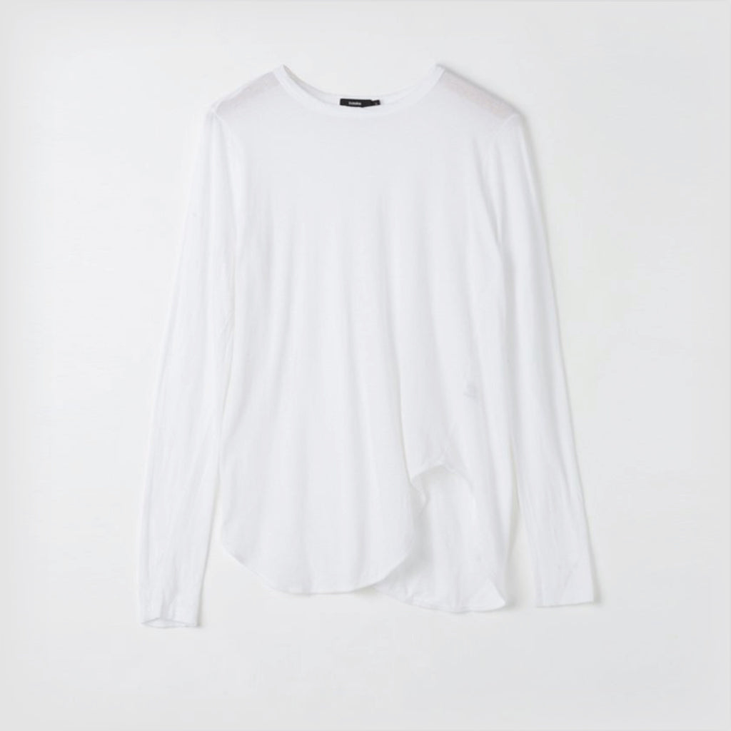 Bassike / Heritage Scoop Hem Long Sleeve T-Shirt / White