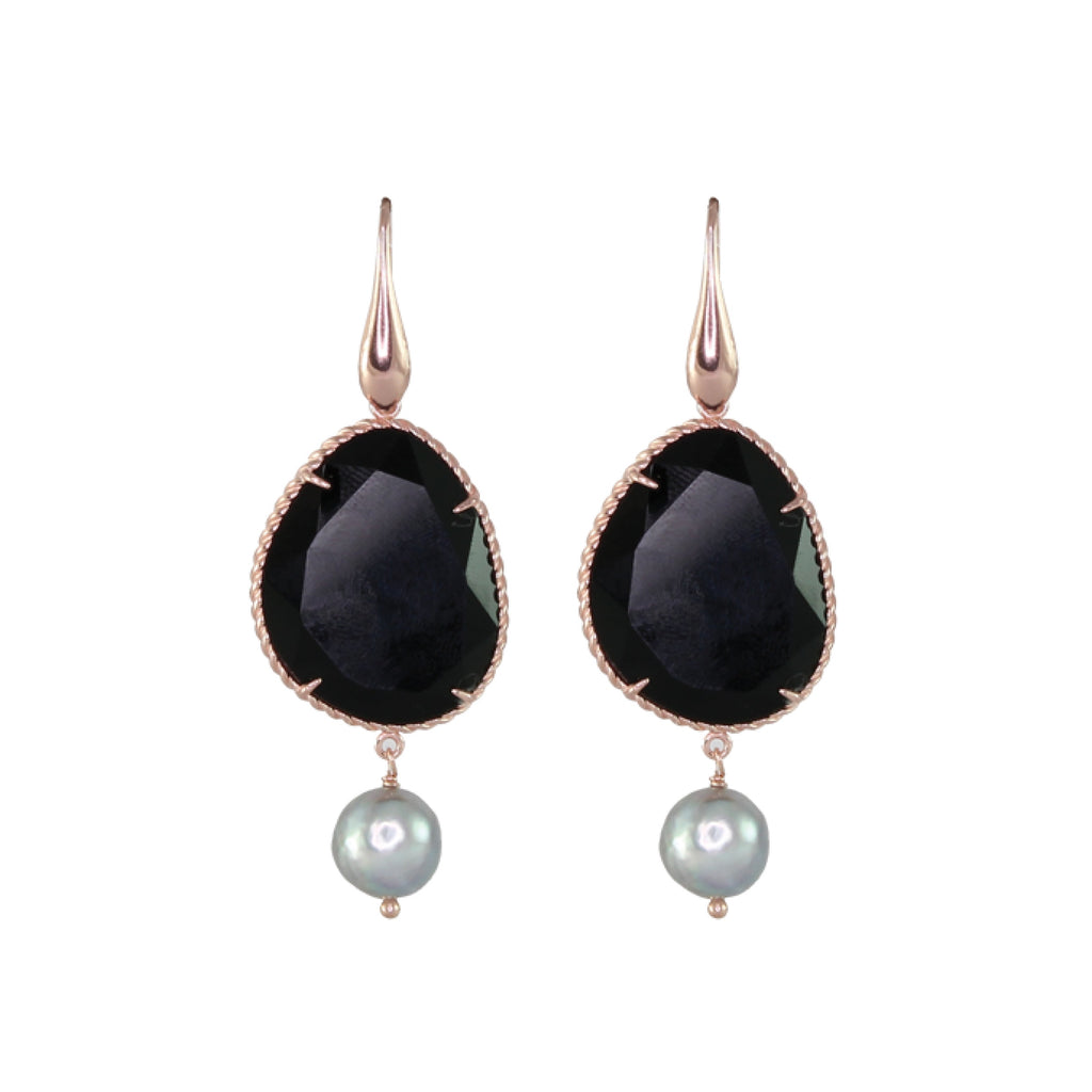 Black Agate with Silver Pearl Earring
