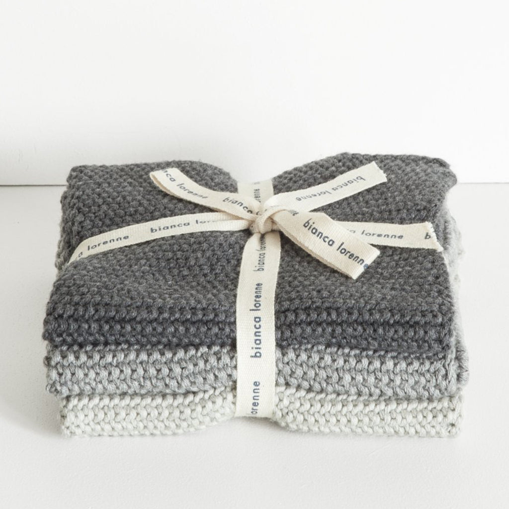 Lavette Knitted Washcloths / Charcoal