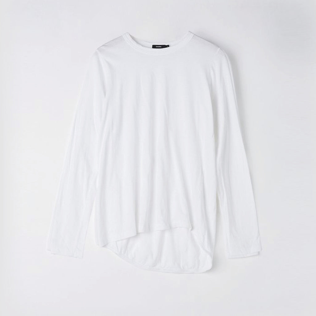 Bassike / Wide Heritage French Seam Long Sleeve T-shirt / White