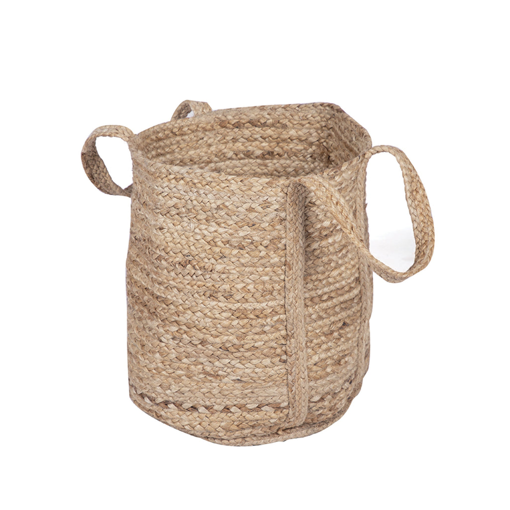 Woven Jute Basket Bag with Handles