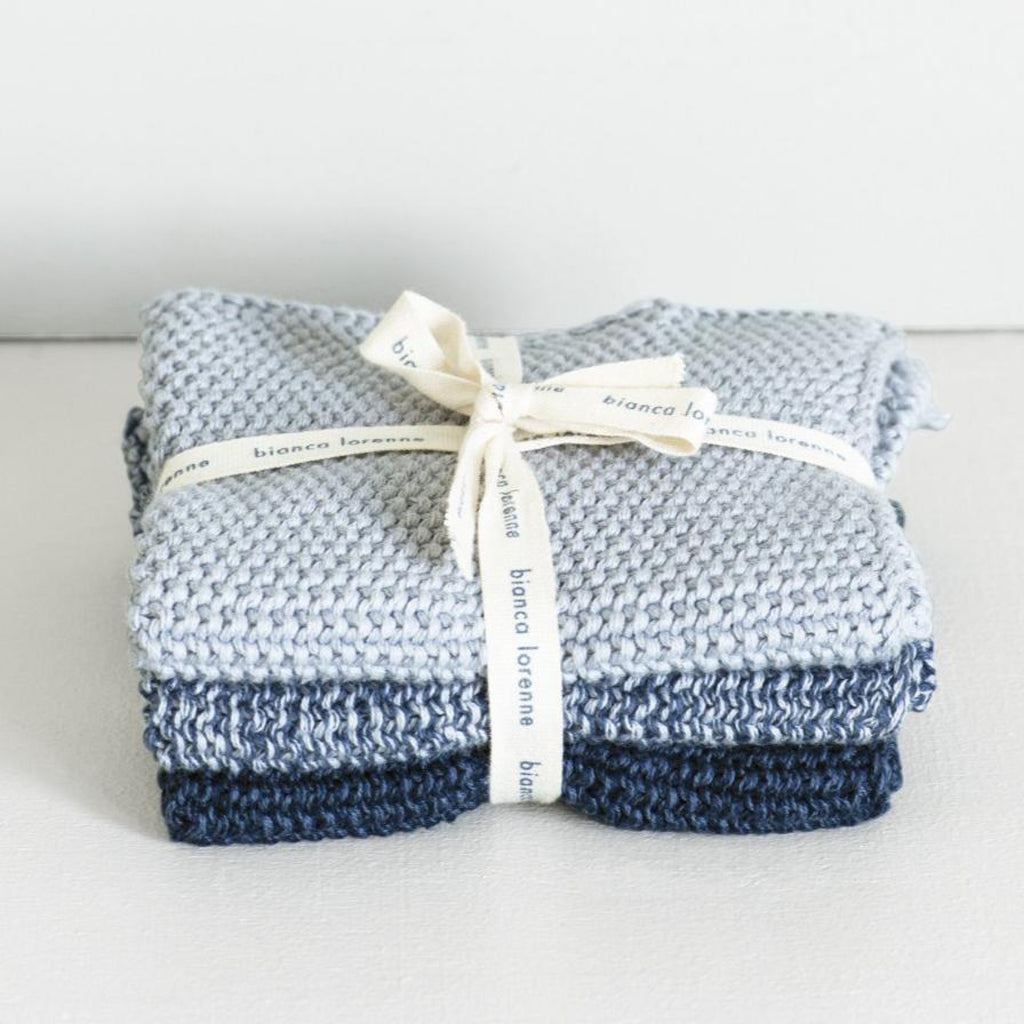Lavette Knitted Washcloths / Indigo