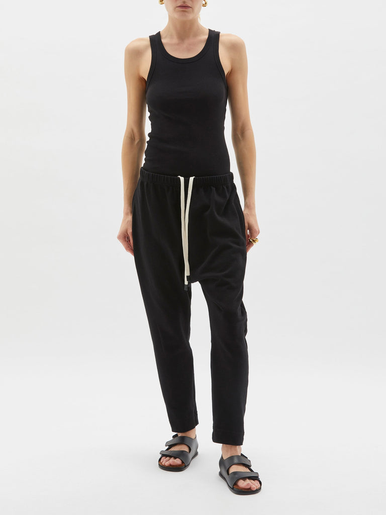 Bassike / Rugby Panelled Slouch Jersey Pant / Black