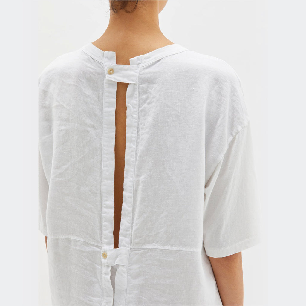 Bassike / Boxy Open Back T-Shirt Dress / White