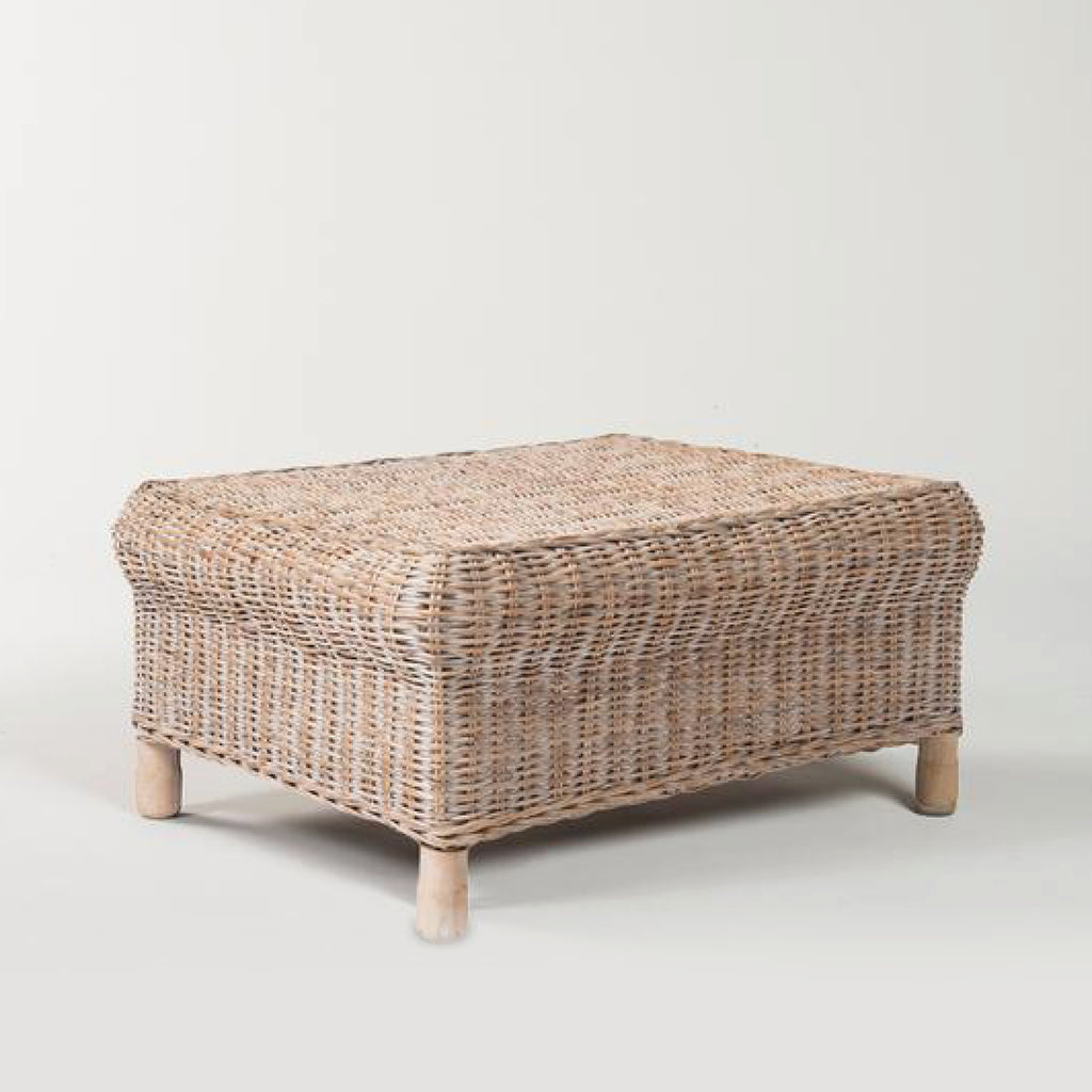 Rattan Gable Ottoman / Whitewash