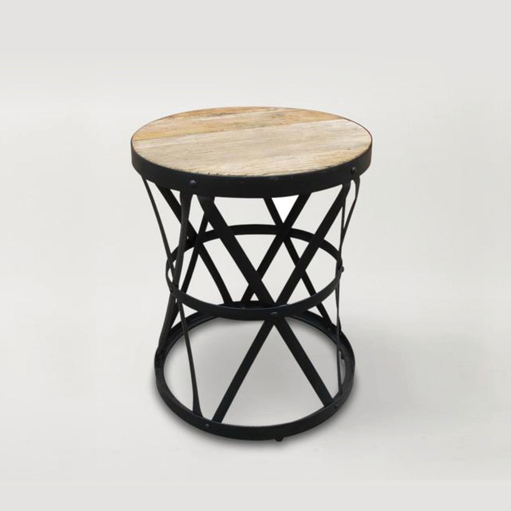 Iron Cross Base Side Table