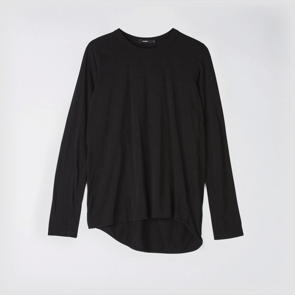 Bassike / Wide Heritage French Seam Long Sleeve T-shirt / Black
