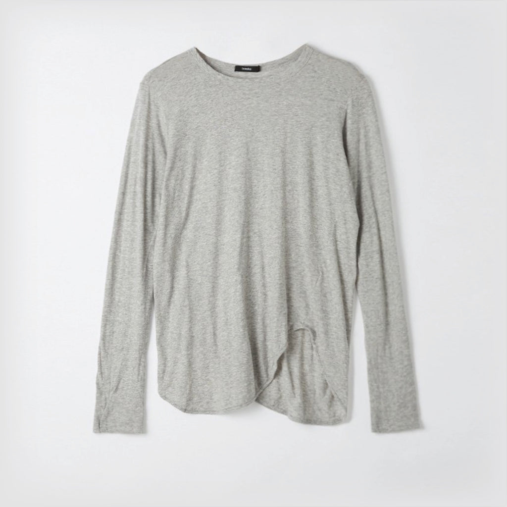 Bassike / Heritage Scoop Hem Long Sleeve T-Shirt / Grey Marl