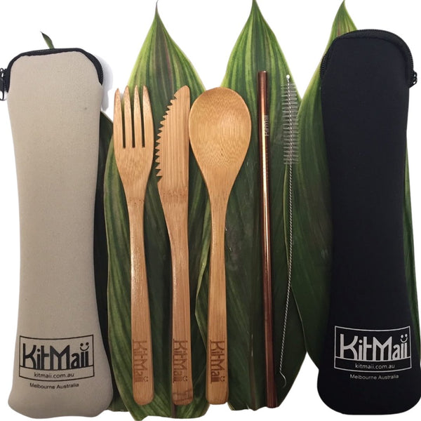 Bamboo Cutlery Set with Stainless Steel Straw & Cleaning Brush in Beige or Black Pouch - KitMaii