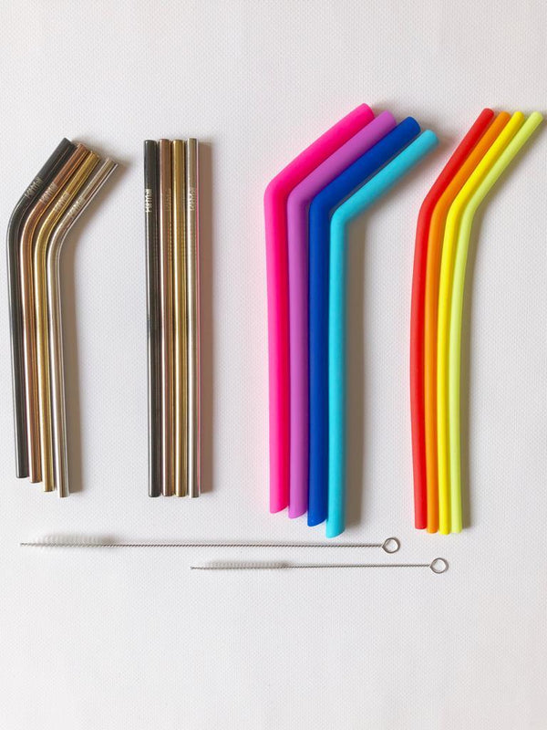 Stainless Steel and Silicone reusable straws Kitmaii