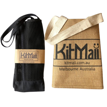 Jute Shopping Bag and Black Canvas Mesh Tote Kitmaii