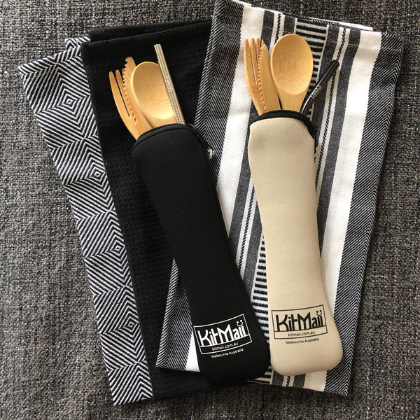 Bamboo Cutlery Set with Straw in Pouch - KitMaii