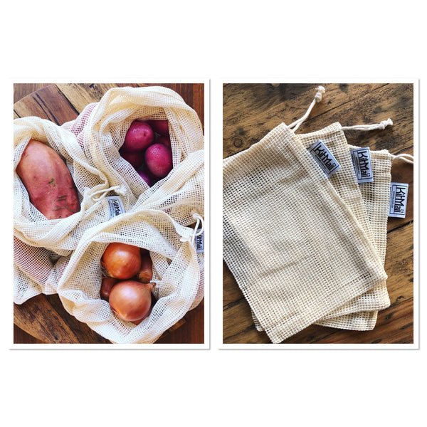 Reusable Produce Bags Organic Cotton Set (Regular & Mini) - KitMaii