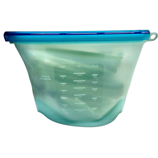 Reusable Silicone Food Bags 1.5 Litre - Light Blue - KitMaii