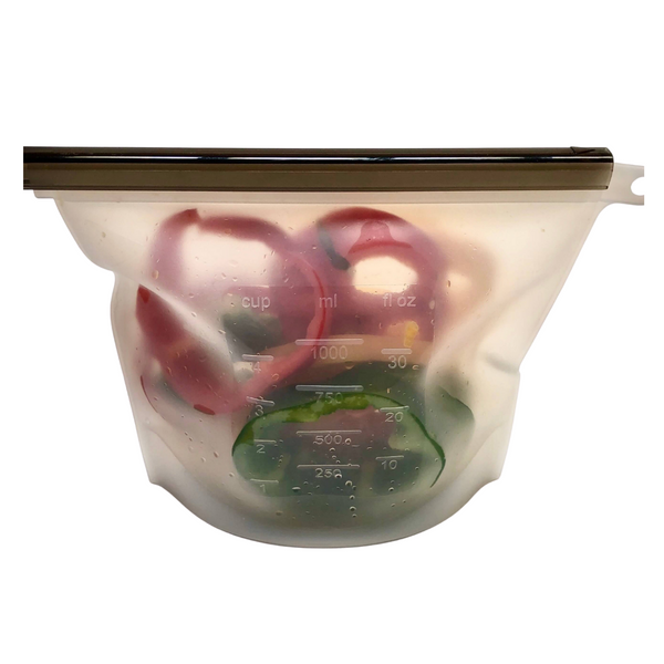 Reusable Silicone Food Bags 1 Litre - Clear - KitMaii
